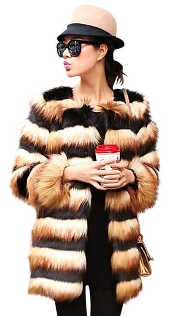 Mao City Faux Fur New Tags Chic Stylish Brown Coat