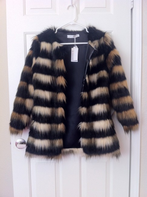 Mao City Faux Fur New Tags Chic Stylish Black Brown Cream Coat