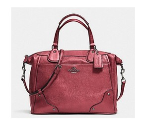 Coach Mickie Crossbody Satchel in Metallic Cheery Red Burgandy