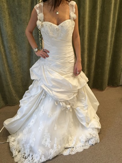 Maggie Sottero Ivory Taffeta Decadence Formal Wedding Dress Size 10 (M) Image 0