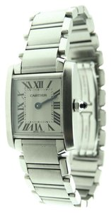 Cartier Cartier Tank Francaise Stainless Steel Analog Watch & Booklet