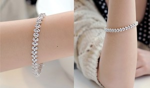 Diamond Bracelet Aaa Zircon Tassel Crystal High Quality 18.5 Cm Leaf Chain Link Cuff Bridal Wedding Prom Clear Cluster