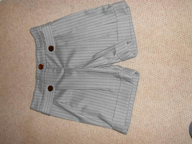 Cache Mid Thigh Gray Stripped Cargo Shorts Silver