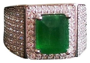 Other Elegant Emerald and Cz 925 Sterling Silver 14k Ring 6.5