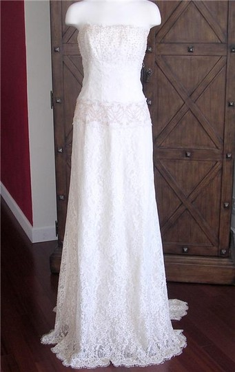 Nicole Miller Antique White Silk and Beaded Lace Strapless Bridal Gown Fd000 Formal Dress Size 2 (XS)