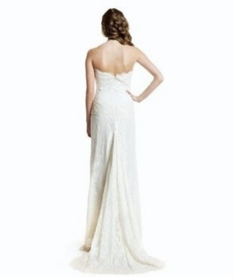 Nicole Miller Antique White Silk and Beaded Lace Strapless Bridal Gown Fd000 Formal Wedding Dress Size 2 (XS)