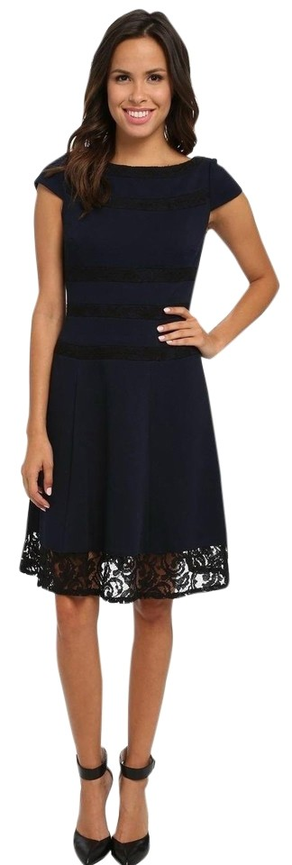 Adrianna Papell Navy and Black Cap Sleeve Lace Trim Mid-length ...