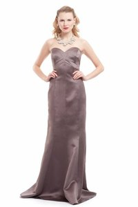 Badgley Mischka Taupe Satin Evening Gown Formal Bridesmaid/Mob Dress Size 8 (M)