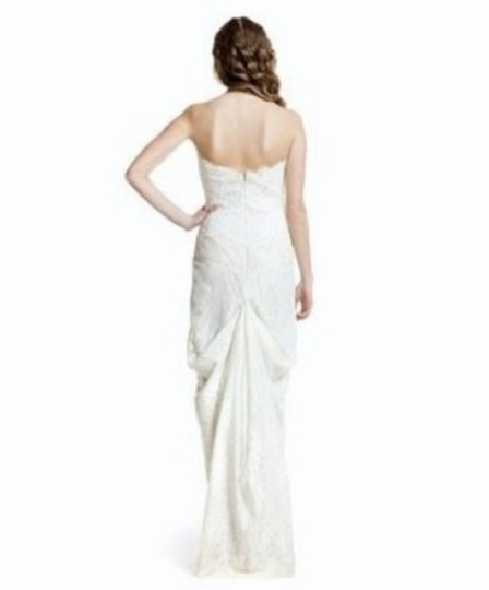 Nicole Miller Antique White Silk and Beaded Lace Trapless Bridal Gown Fd0002 Formal Dress Size 8 (M)