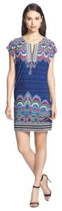 Laundry by Shelli Segal short dress Blue Black Multi Color Shift Shift Size: Small Print Shift on Tradesy
