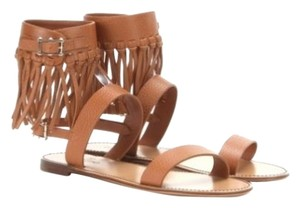 Valentino Fringe Leather C-rockee Gladiator tan Sandals