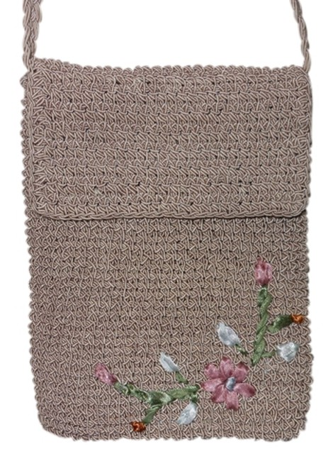 Item - Taupe with Pink & Blue Flowers Crochet Woven Cross Body Bag