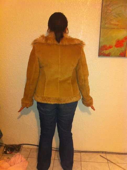 Guess Suede Faux Fur Camel Brown Leather Jacket