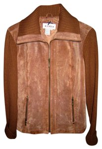 AMI Sport Suede Terracotta Leather Jacket