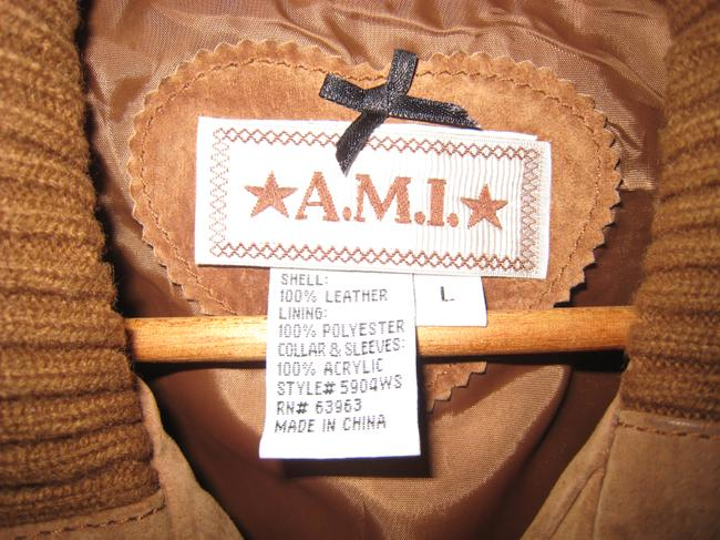 Ami Sport Suede Vest Suede Zippered Suede Terracotta Leather Jacket