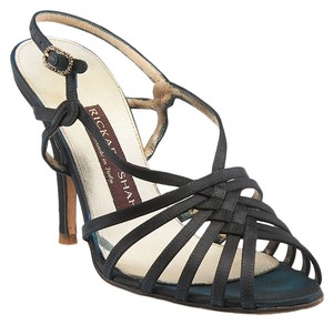 Rickard Shah Satin Heels Sandals Black Formal