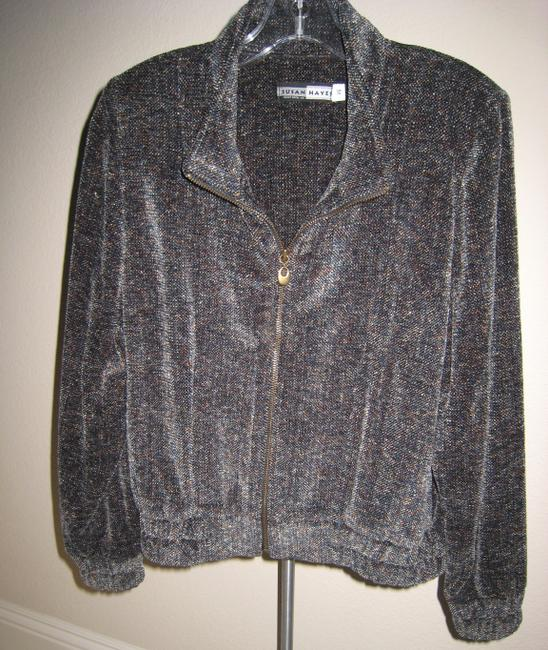 Susan Hayes Chanille Sweater Hand Woven Sweater Chanille Sport Heavy Sweater multi color tweed, blue, grey, black Jacket