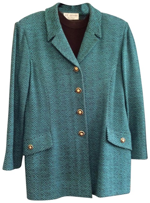 Preload https://img-static.tradesy.com/item/683921/st-john-turquoise-and-brown-blazer-size-12-l-0-2-650-650.jpg