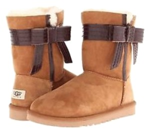 0169dd746ff UGG Australia Chestnut W Classic Josette Leather Bow Boots/Booties Size US  8 Regular (M, B)