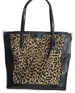 Coach Black Leopard Tote in Black, Brown
