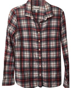J.Crew Button Down Shirt Navy and red plaid