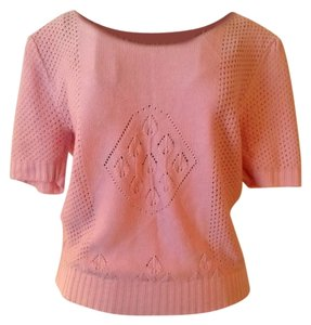 vintage Short Sleeves Salmon Sweater