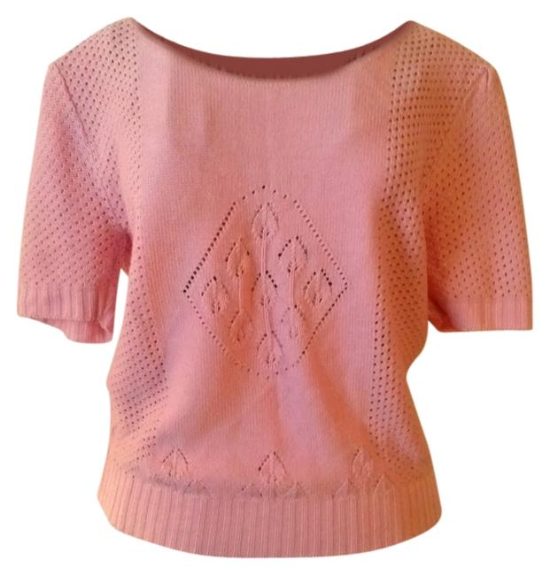 vintage Short Sleeves Salmon Knits 80s 1980s Preppy Classic Boho Sweater