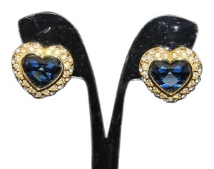 Joan Rivers Joan Rivers Rare Signed Montana Blue Faceted Heart Shaped With Double Clear Crystal Halo