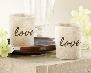Kate Aspen Linen 100 Love Linen-covered Glass Holders Favors Votive/Candle