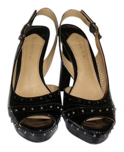 Gianni Bini Silver Hardware Black Platforms