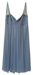 BCBGMAXAZRIA Pleated Jeweled Beaded Silk Dress