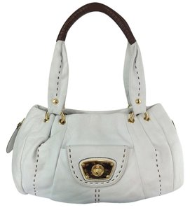 B. Makowsky Victoria Leather Satchel Tote in white