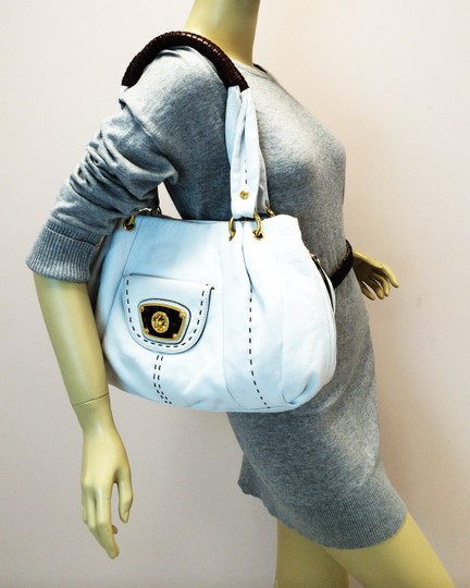 B. Makowsky Victoria Leather Shopper Satchel Tote in white Image 1