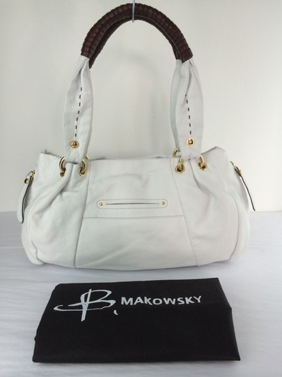 B. Makowsky Victoria Leather Shopper Satchel Tote in white Image 10