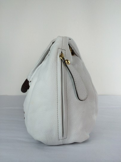 B. Makowsky Victoria Leather Shopper Satchel Tote in white Image 2