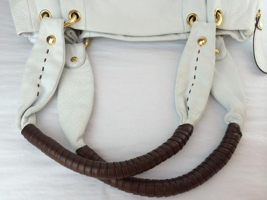 B. Makowsky Victoria Leather Shopper Satchel Tote in white Image 7