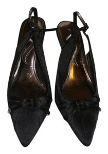 Nina Satin Slingback Black Pumps
