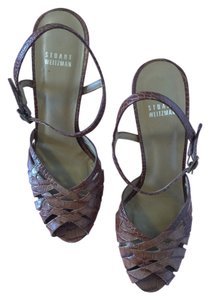 Stuart Weitzman Made In Spain 50's Leather Brown Crocodile Embossed Wedges