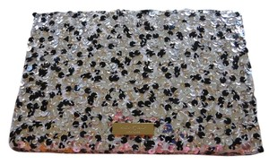Kate Spade Sequin Glitter Blush, black, silver Clutch