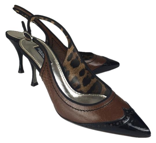 Dolce&Gabbana D&g Brown Black Brown And Black Low Patent Leather Point Toe Slingback Classic Staple Celebrity A-list Pumps Image 0