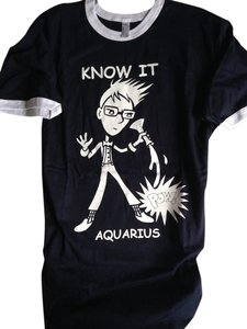 Other Aquarius Zodiac Astrology American Apparel T Shirt Navy Blue