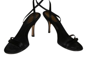 BCBGMAXAZRIA Strappy Satin Black Sandals
