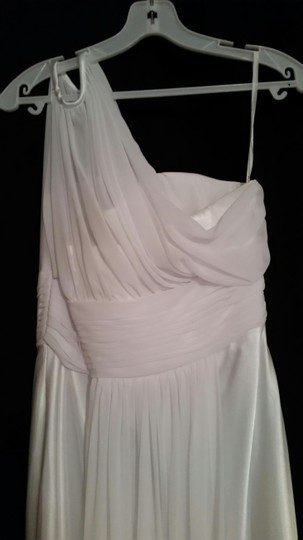 Bari Jay White Bella Chiffon & Matching Charmuese Formal Bridesmaid/Mob Dress Size 8 (M)