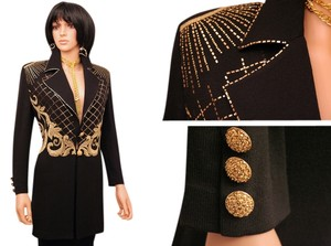 St. John EXQUISITE ST.JOHN EVENING KNIT GOLD BEADED, PAILETTES BLACK JACKET, SZ 8 10, EXCELLENT!