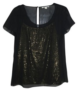 Banana Republic Blouse Sequin Sequins Blouse Top Black and Gold