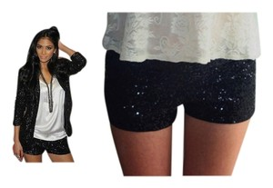 Zara Strass Glitter Short Party Mini/Short Shorts Black