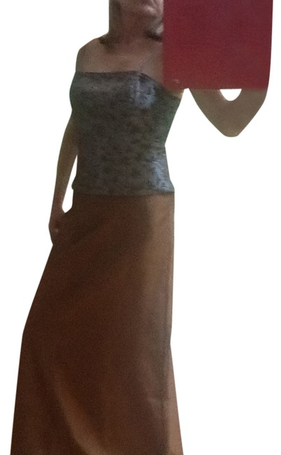 Xscape set Maxi Skirt Caper and dusty blue top Image 1