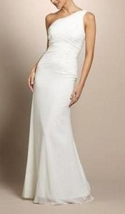 Nicole Miller Ivory Silk One Shoulder Grecian Bridal Gown Ea0039 Formal Wedding Dress Size 12 (L)