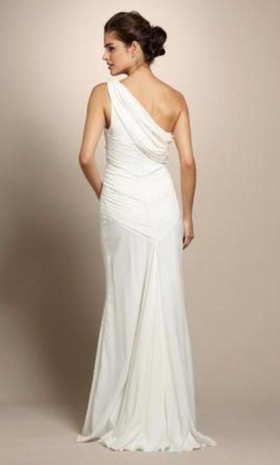 Nicole Miller Ivory Silk One Shoulder Grecian Bridal Gown Ea0039 Formal Wedding Dress Size 12 L Tradesy