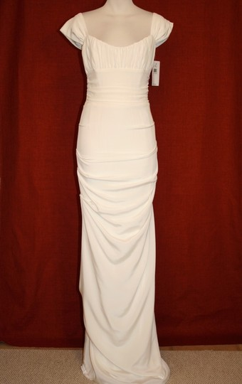 Nicole Miller Ivory Silk Shired Cap Sleeve Bridal Gown Hg0016 Formal Wedding Dress Size 6 (S)